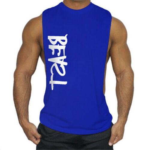 Men's GYM Top T-Shirt Bodybuilding Sports Letter