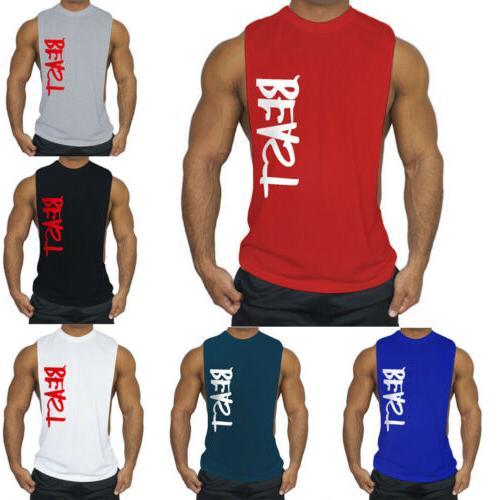 Men's GYM Top T-Shirt Letter Muscle