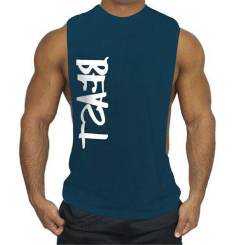 Men's GYM Sleeveless Tank Top Letter Vest US