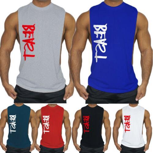 Men's GYM Sleeveless Top T-Shirt Letter