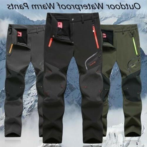 Men's Hiking Thermal Fleece Pants Waterproof Windproof