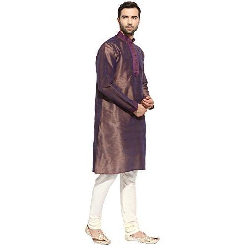 KISAH Men's Indian Silk Kurta Churidar Set 42 Mauve & Cream Wedding & Festive