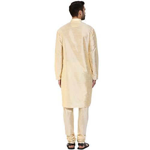 KISAH Men's Indian Silk Plain Kurta Churidar for Season