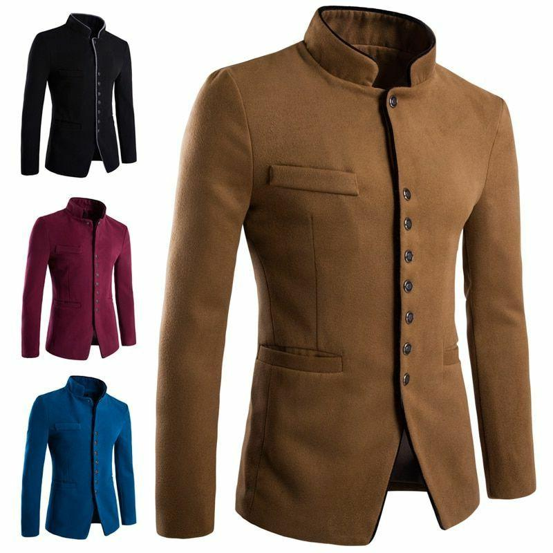 Men's Cotton Type Formal Outerwear Patterned Coat Male