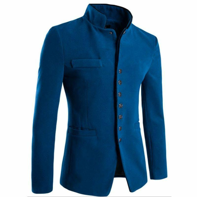 Men's Jacket Cotton Slim Type Formal Outerwear Patterned Coat Male