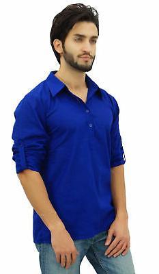 Atasi Men's Kurta Roll-Over Blue Shirt Collar Ethnic Indian Clothing