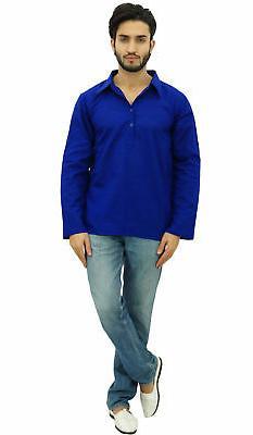 Atasi Men's Blue Shirt Collar Ethnic Indian