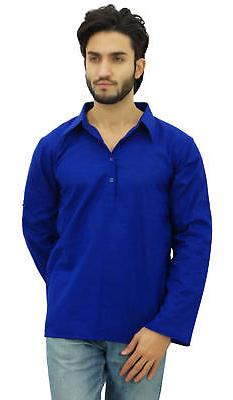 Atasi Men's Kurta Roll-Over Blue Shirt Collar Neck Ethnic In