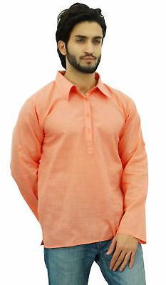 Atasi Men's Kurta Roll-Over Peach Shirt Collar Neck Ethnic I
