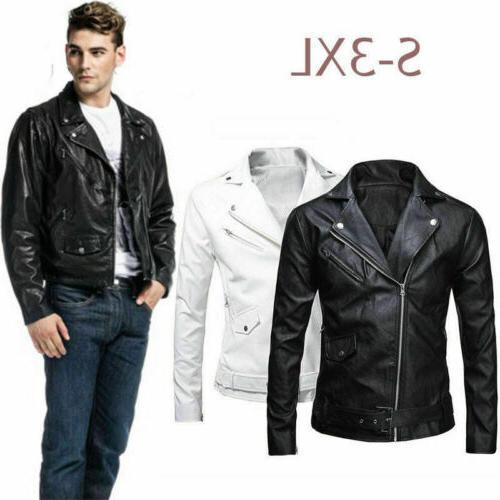 Men's Leather Jacket Motorcycle Slim Zipper Coat