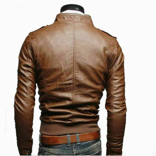 Men's Leather Jacket Motorcycle Coat Clothing
