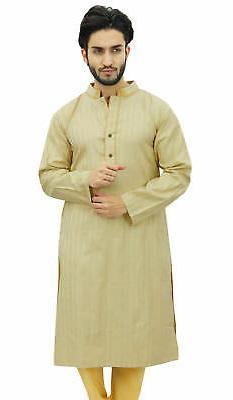 Atasi Men's Long Beige Cotton Mandarin Ethnic Clothing