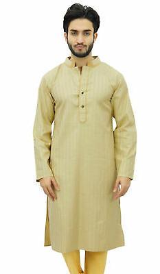 Atasi Men's Long Beige Cotton Mandarin Collar Shirt Ethnic C