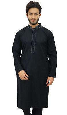 Atasi Men's Long Black Cotton Mandarin Collar Shirt Ethnic C