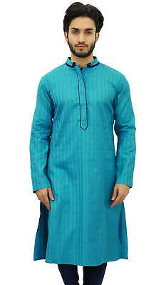 Atasi Men's Long Green Cotton Mandarin Collar Shirt Ethnic C