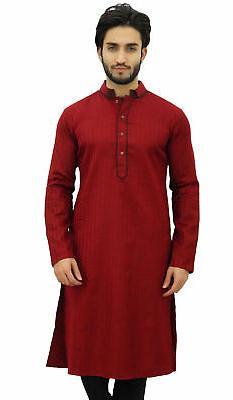 Atasi Men's Long Maroon Cotton Mandarin Collar Shirt Ethnic