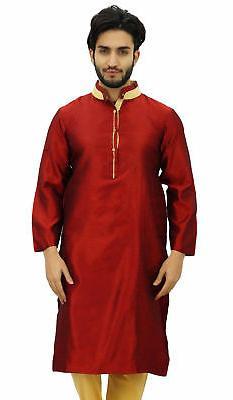 Atasi Men's Long Maroon Dupion Band Collar Shirt Ethnic Clot