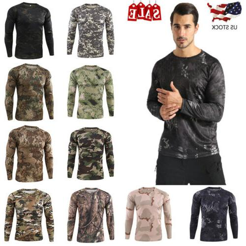men s long sleeve camouflage fitness quick