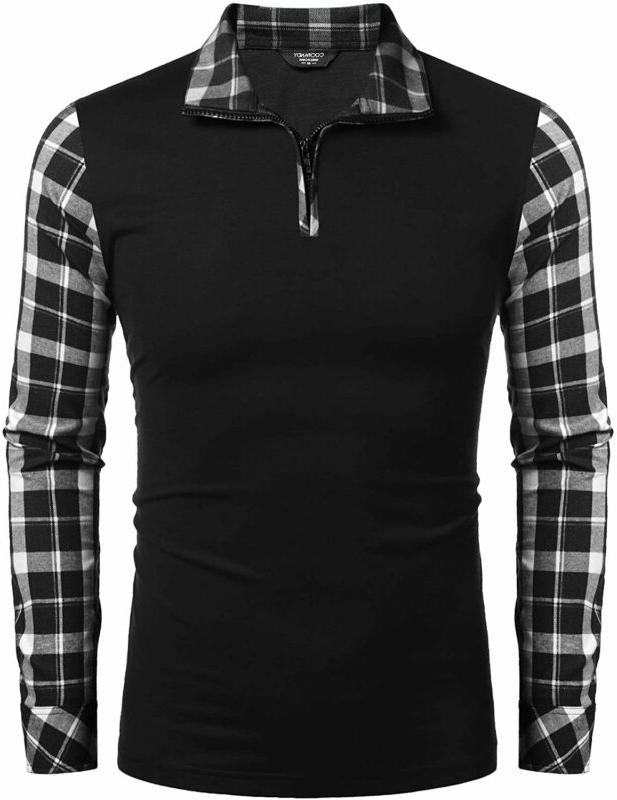 Coofandy Men'S Long Sleeve Polo Shirts Casual Slim Fit Zippe