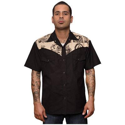 Men's Steady Clothing Mezcal Western Shirt Black Retro Vinta