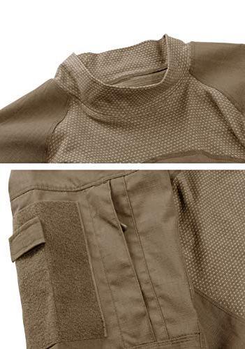 TACVASEN Assault Fit Long Combat T-Shirt Khaki,US