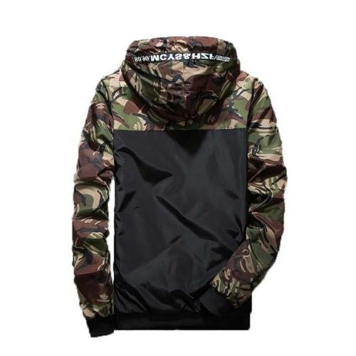 Men's Camouflage Hoodies Jacket Windbreaker Male