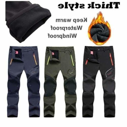 Men's Trousers Fleece Thicken Pants Waterproof Windproof