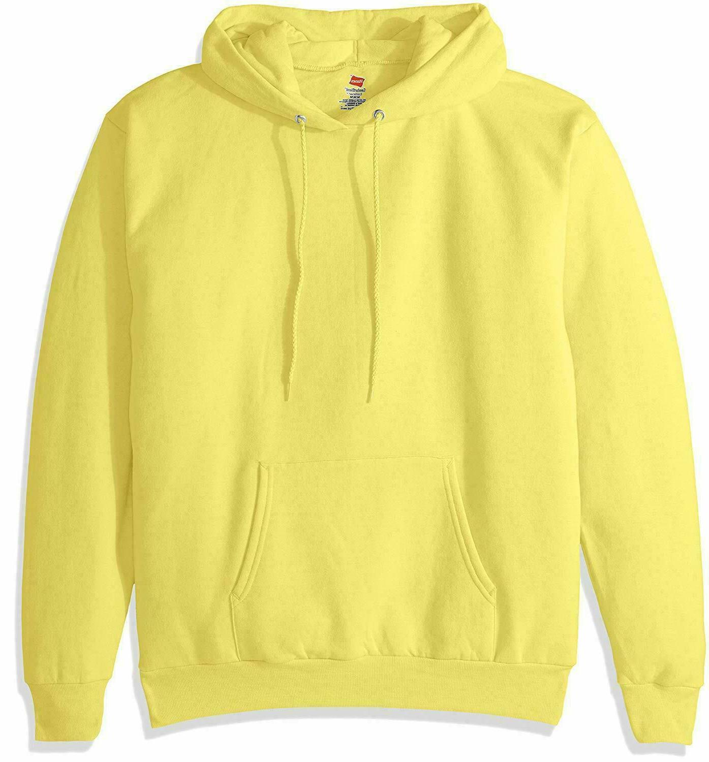 Hanes Men's Pullover EcoSmart Fleece Hooded Sweatshirt, Yell
