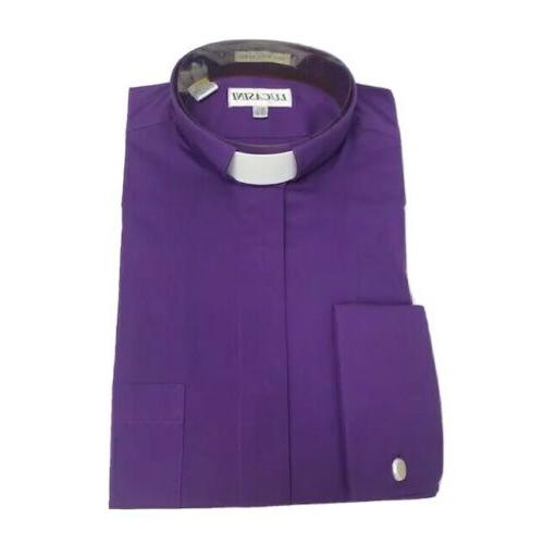 Lucasini Men's Purple Clergy Dress Shirt with Tab Collar 15.5 34/35