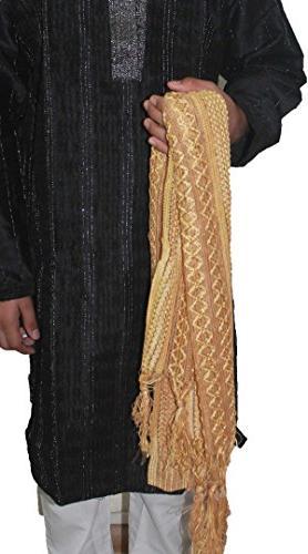 men s shawl stole dupatta gold