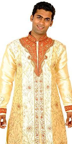 Apparelsonline Men's Sherwani Suit XX-Large Gold