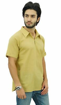 Atasi Men's Short Beige Cotton Kurta Indian Casual