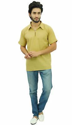 Atasi Men's Short Beige Cotton Indian Casual