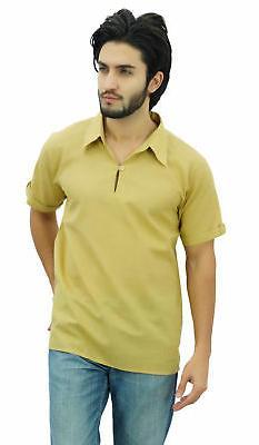 Atasi Men's Short Beige Cotton Kurta Collar Shirt Indian Cas
