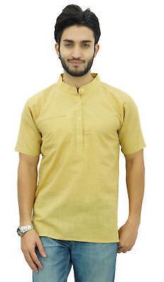 Atasi Men's Short Beige Cotton Mandarin Collar Shirt Ethnic