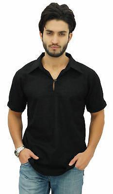 Atasi Men's Short Black Cotton Kurta Collar Shirt Indian Cas