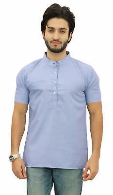 Atasi Men's Short Blue Cotton Mandarin Collar Shirt Ethnic C