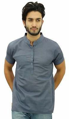 men s short gray cotton mandarin collar