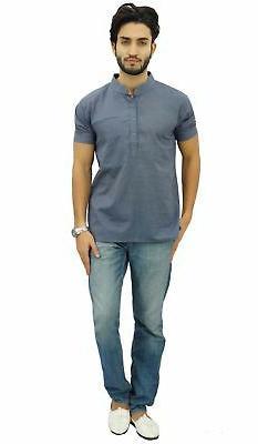 Atasi Men's Gray Cotton Mandarin Ethnic