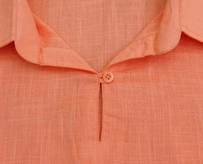 Atasi Short Peach Cotton Kurta Collar Indian Clothing