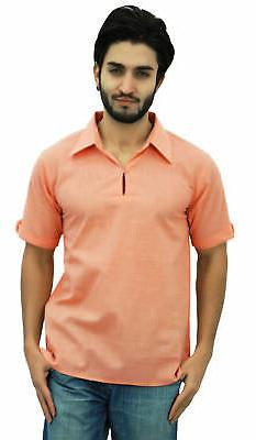 men s short peach cotton kurta collar