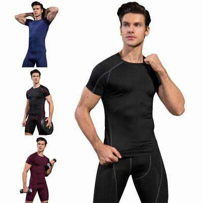 Men's Short Shirt Base Layer Clothes Running Tights