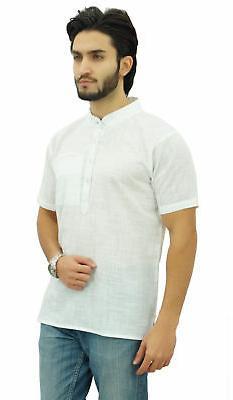 Atasi Men's Short White Cotton Ethnic
