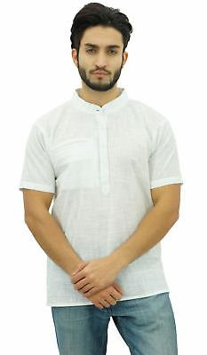 Atasi Men's Short White Cotton Mandarin Collar Shirt Ethnic