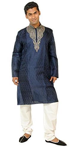 Apparelsonline Men's Silk Kurta Suit Large Blue