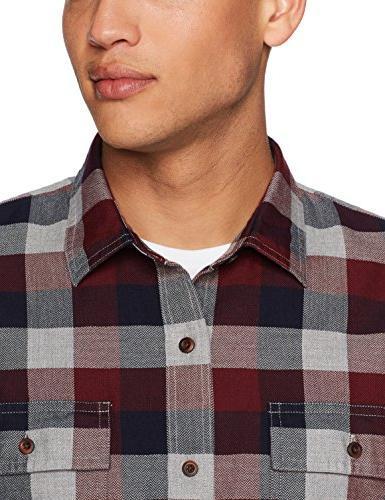 Goodthreads Men's Plaid Herringbone Shirt, Eclipse,