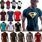 Men's Superman Gym Singlets t-shirt Bodybuilding Fitness Spo