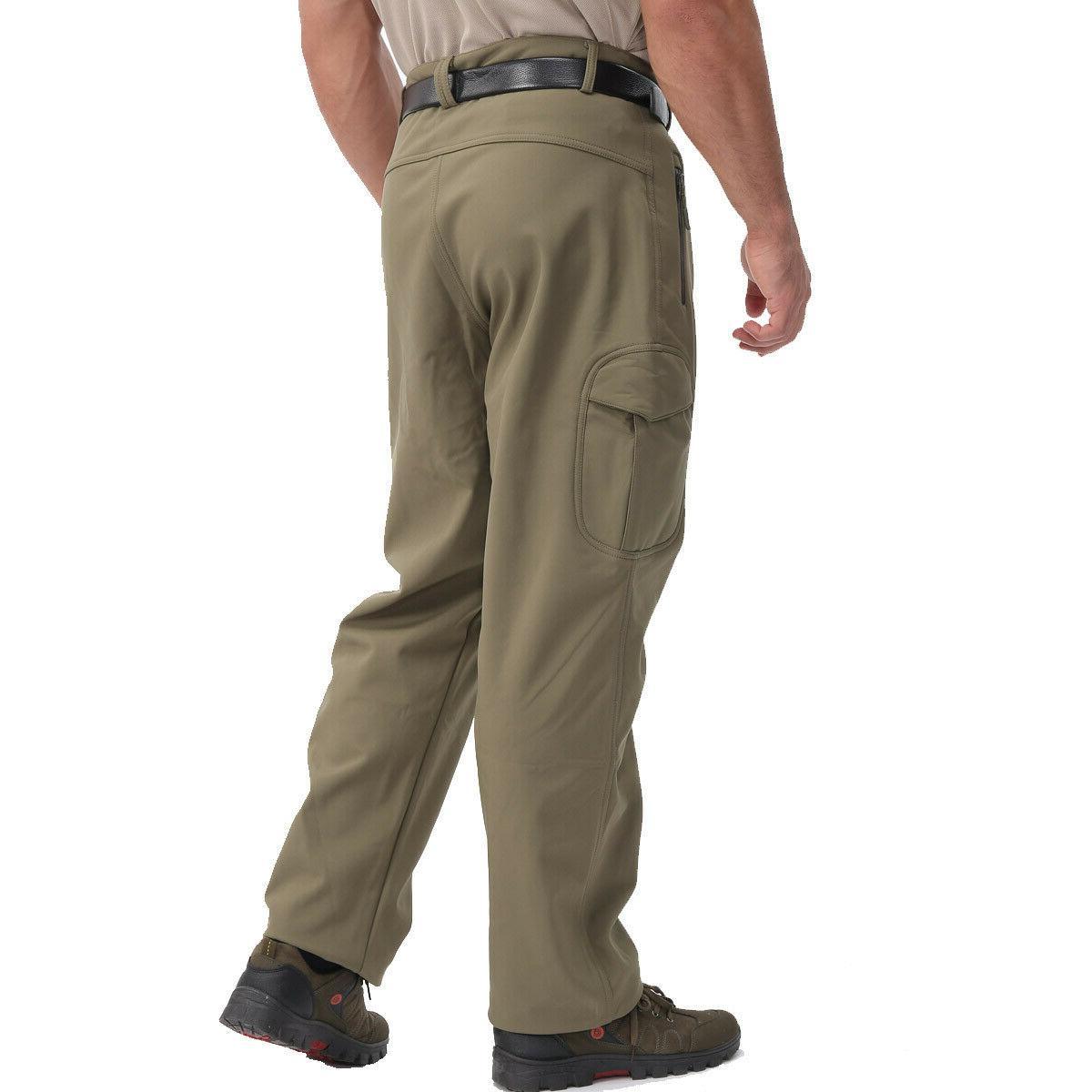 TACVASEN Men's Shell Fleece Pants Army