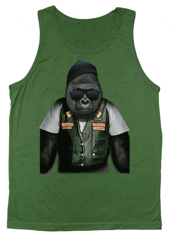 men s tank top biker gorilla decal