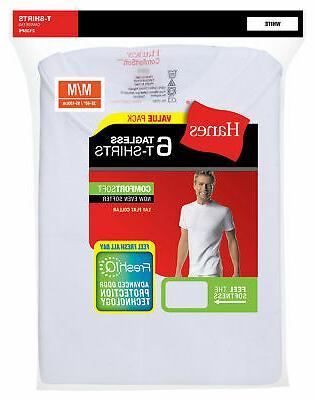 Hanes White Crewneck T-Shirt 6-Pack TAGLESS FreshIQ Comfort